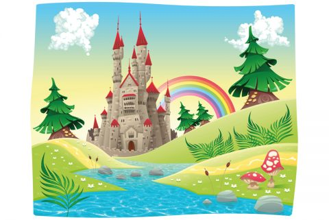 Illustration of fairy tale castle in pretty landscape